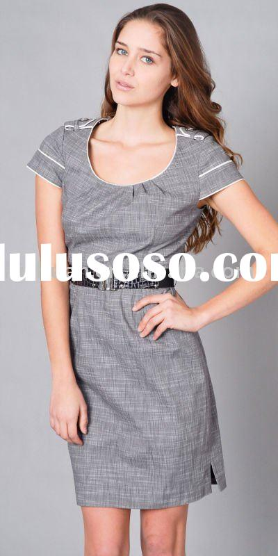 o-neck short sleeve casual office summer dresses with belt