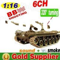 52cm 6ch Remote Control Toys RC  Tank 1 :16 r/c tank US  with realistic smoke and sound function