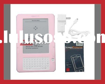 For Amazon Kindle 2 Pink Silicone Skin Case Cover + Micro USB wallcharger + Screen Protector Bundle