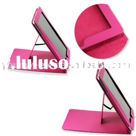 HOT SALES T89 PINK LEATHER CASE STAND FOR APPLE IPAD
