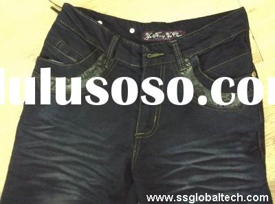 2011 NEW STYLE MONKEY AND VINTAGE WASH WITH LEATHER DECORATION AND EMBROIDERY LADIES DENIM JEANS PAN
