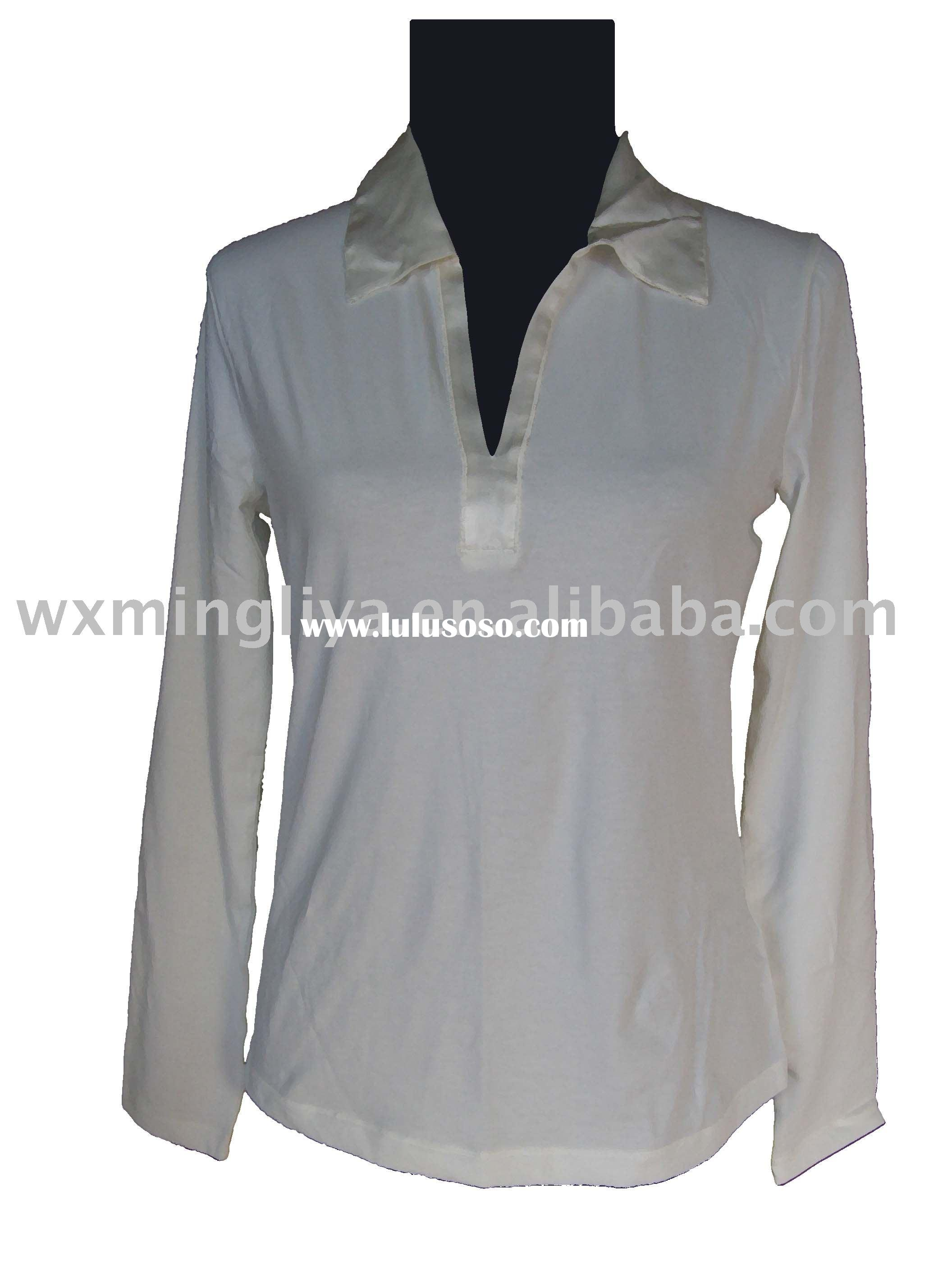 94% Cotton 6% Spandex Polo Collar Long Sleeve Sliver-gray  Shirt