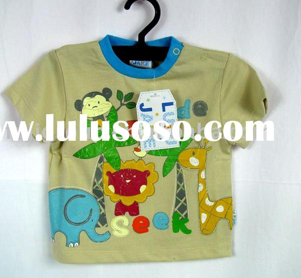 Boys 100% combed cotton embroideried short-sleeves T-shirts
