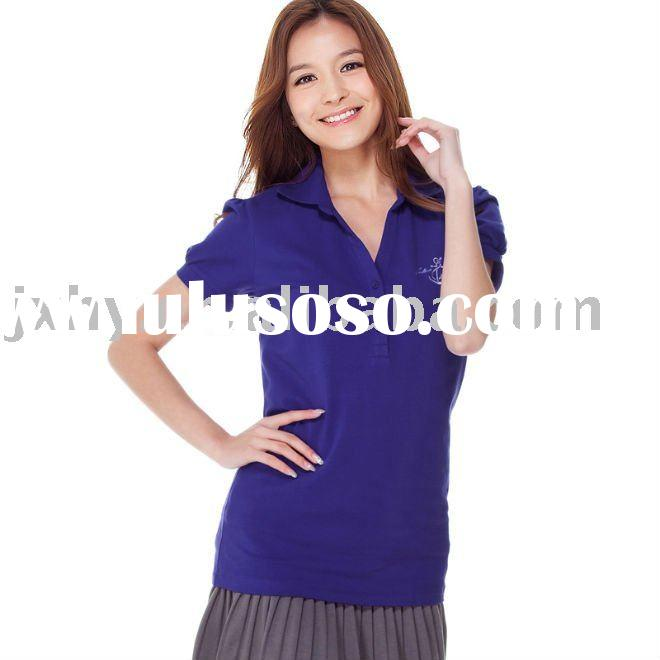 Classic embroider tabby short-sleeved POLO shirt (female paragraph) dark purple
