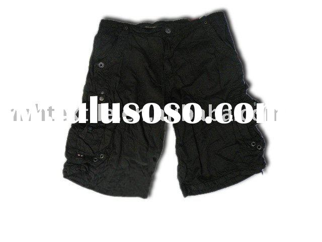 Cotton board black mens cargo shorts