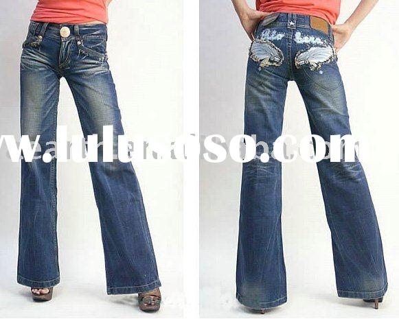 Fashion women jeans pants with emb.