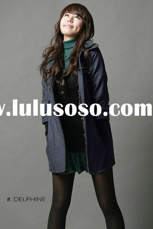 Korea/Japan Double Collared Slight Tightening Waistline Overcoat with Short Sleeves jacket juniors j