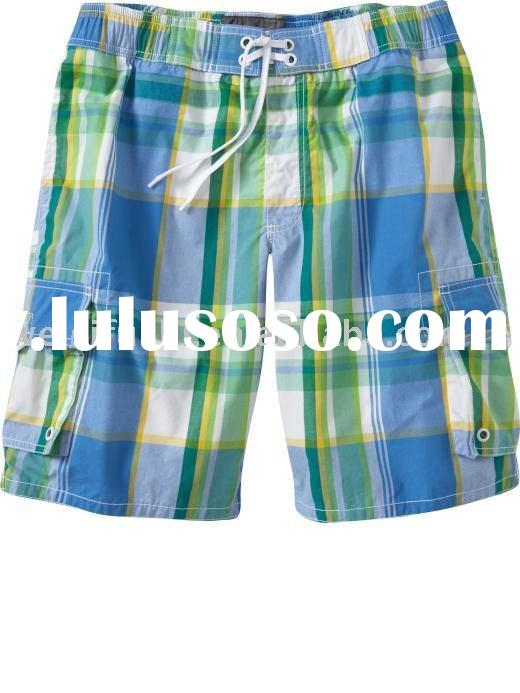 Men Plaid Cargo Boxer Shorts