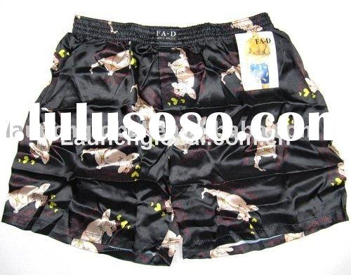 Stock Men Satin Boxer Shorts with Printing