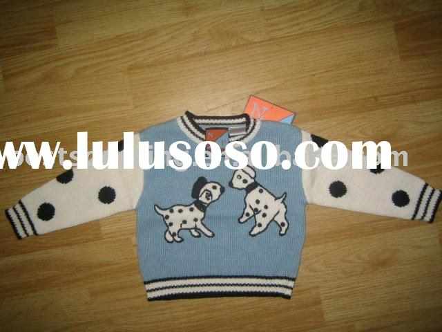 boy's girl's infant and toddler intarsia dogs crew neck cotton pullover children swe