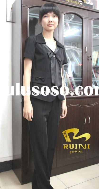 2011 Fashion High Quality Black Short Sleeve Women  Suit   tz629-1