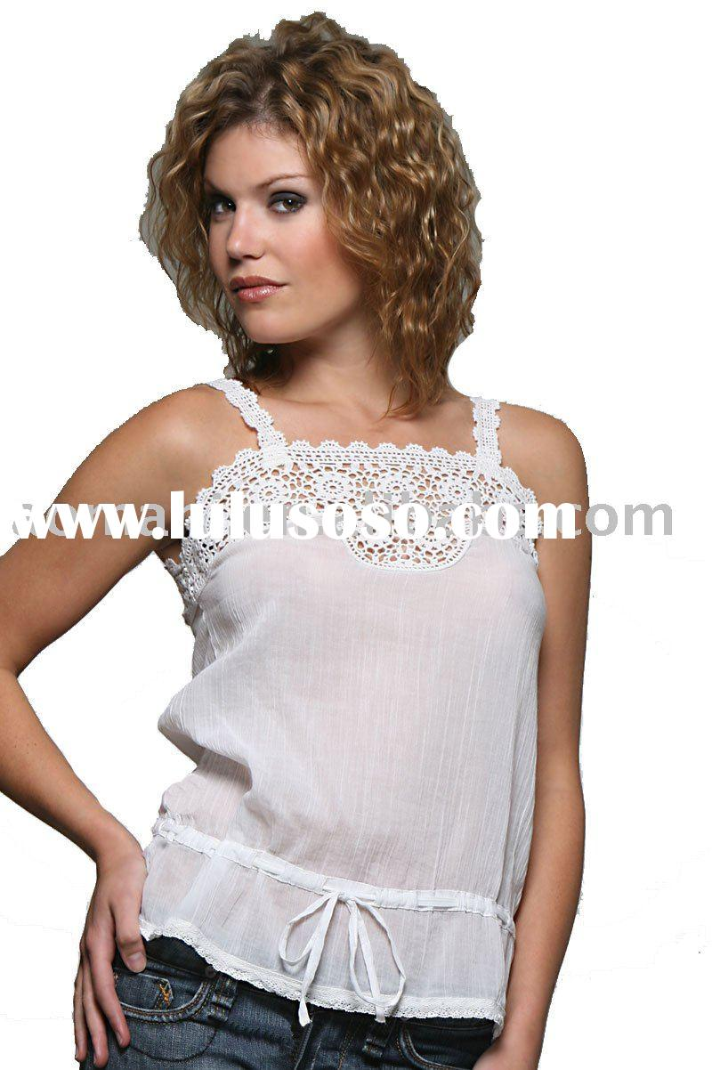 2011 fashion  cutout u-neck white women blouses