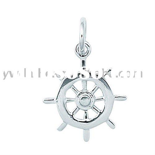 2011  fashion simple  boat wheel shape alloy charms plated white gold