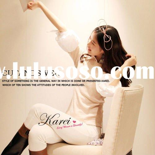 2011 new fashion short sleeve women trendy blouse with beautiful style(14881)