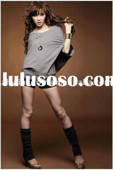 2011 newest style ladies trendy V-neck short sleeve batwing t-shirt