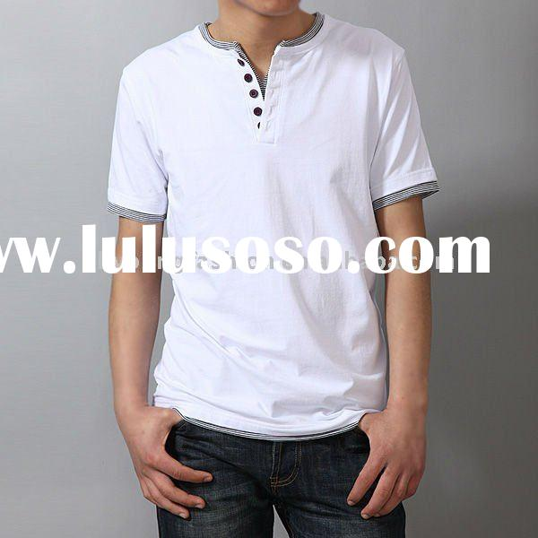 2011new arrival 100%cotton solid color  men's tight short sleeve t shirt with button