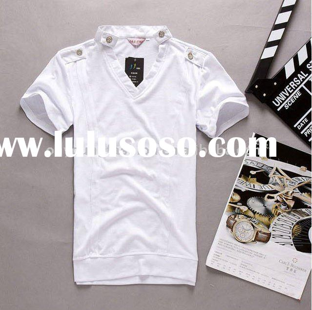 95% cotton 5% spandex plain white skin tight solid color men's v-neck short-sleeved t shirt