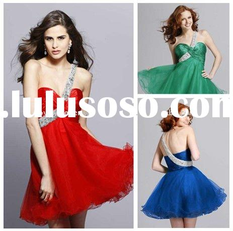 Custom Made Cheap Hot Sale One-shoulder Short Dresses