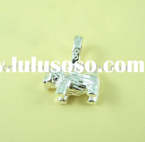 Enamel small dog charms in silver color