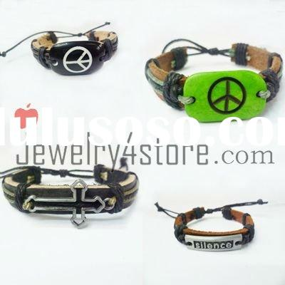 Fashion bracelet  Personalized charms and  leather bracelet D035