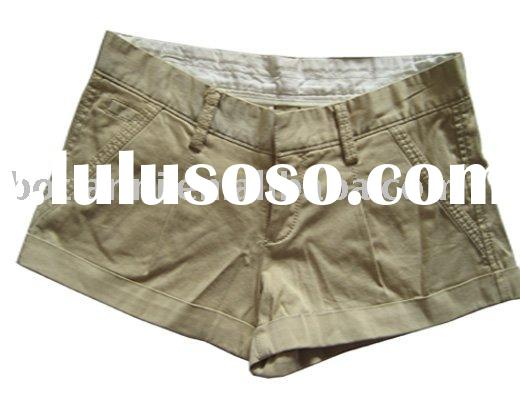 Ladies' hot sell young vintage Khaki comfortable casual  summer 98%Cotton 2%Spandex twill sh