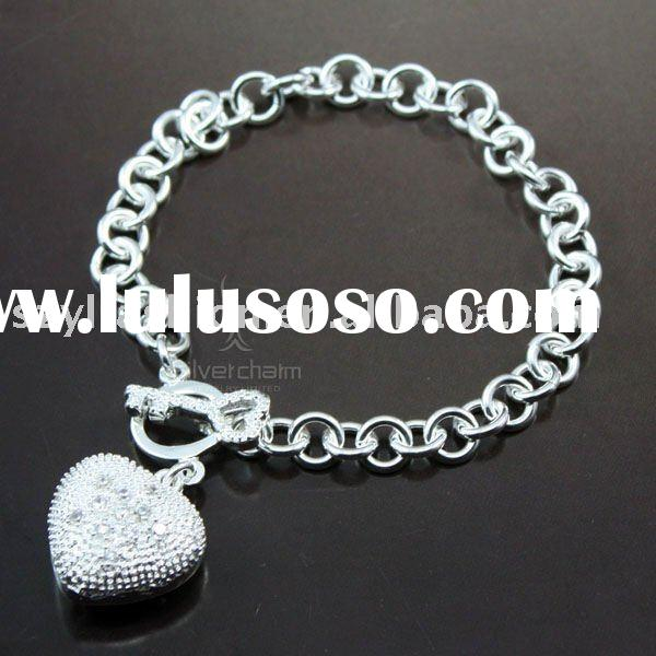 Silver Heart Charm Bracelet Fashion Jewelry DB222