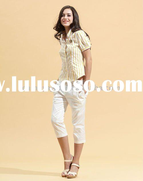 Slim fit craker khaki short blouse for lady
