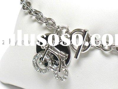 White gold plating double layer crystal bike charm dangle toggle bracelet