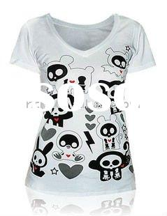 Women's white fashion skin tight short sleeve t-shirts with cartoon human skeleton print