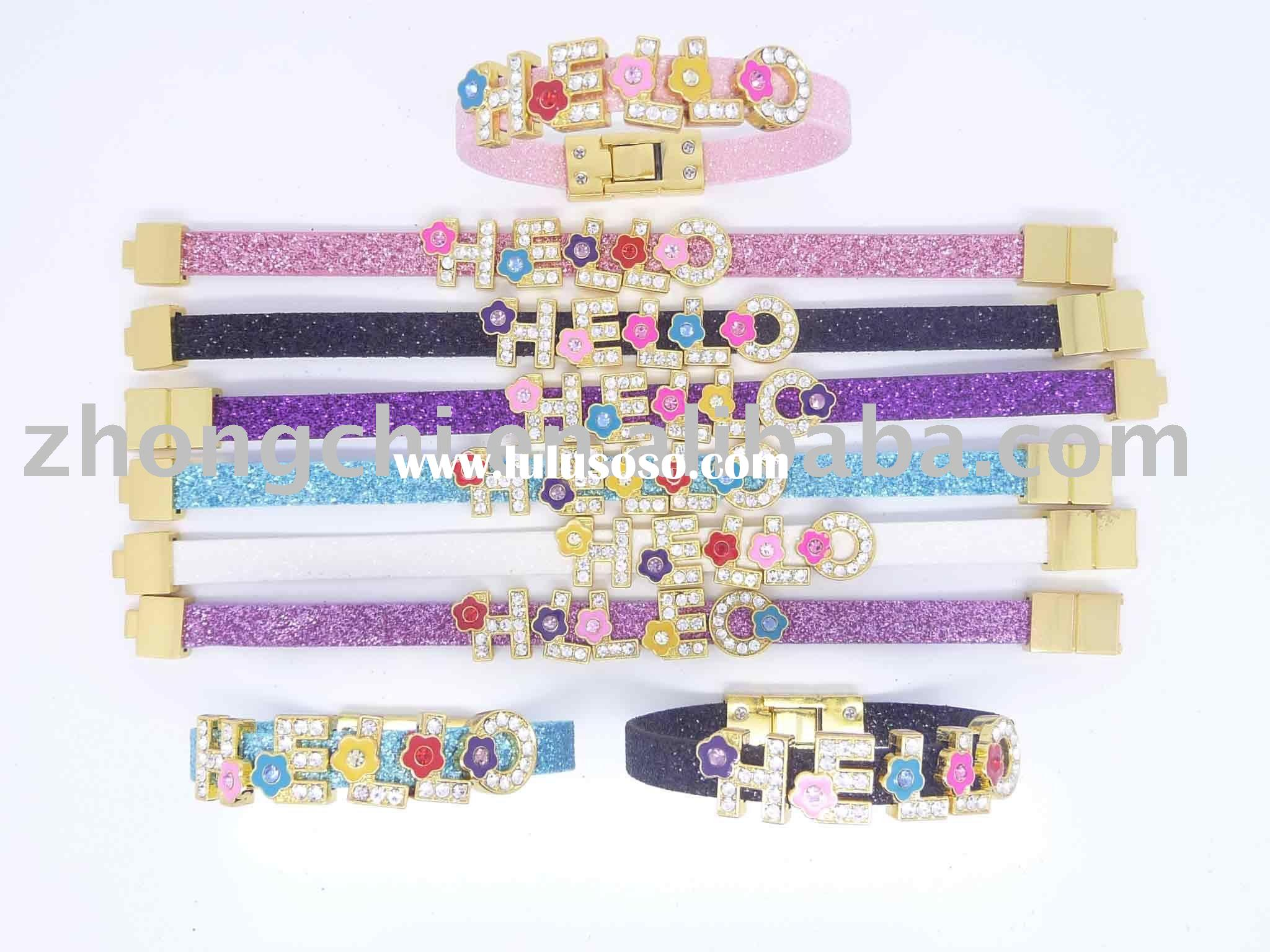 fashion leather bracelet with slide charms