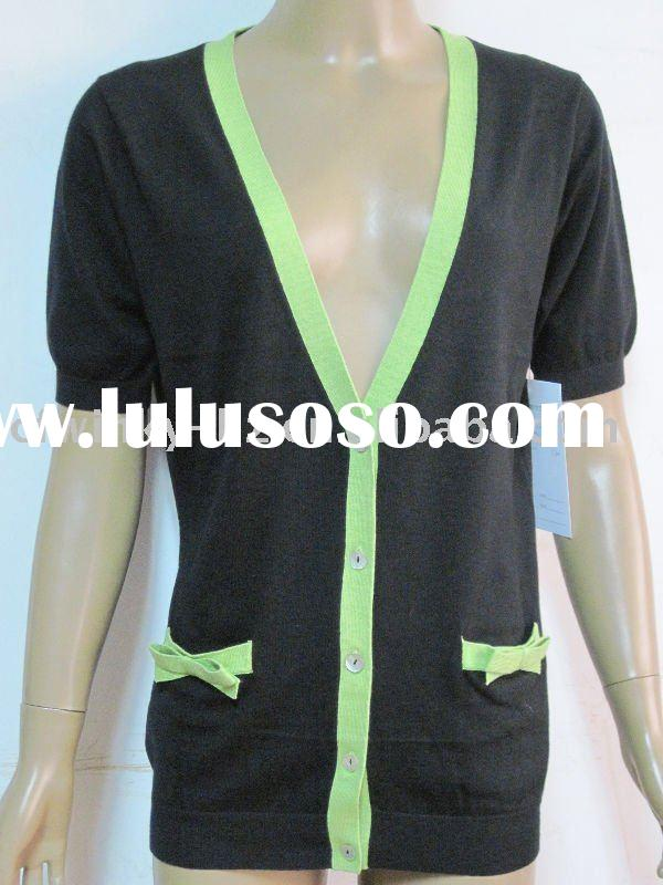 ladies short sleeve cardigan sweater