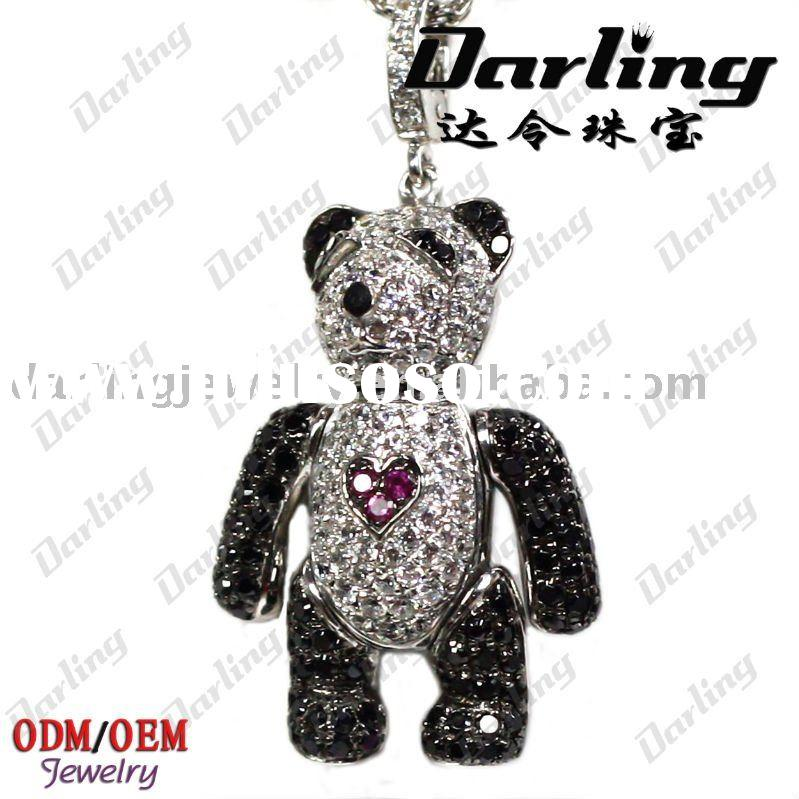 wholesale 925 sterling silver panda pendants charms