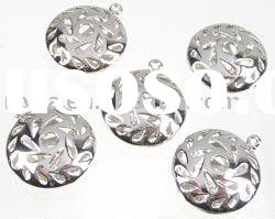 2011 newest Metal pendants/charms flat round decorated hollow 23x20mm fashion alloy pendent
