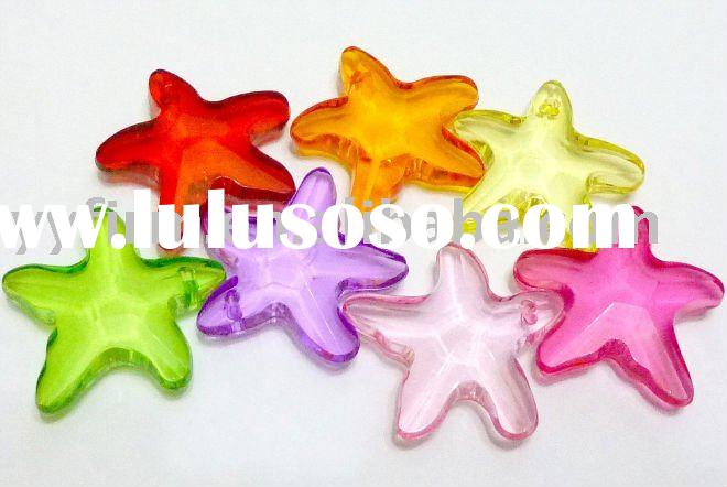 Acrylic Starfish Charms Beads Assorted Colors