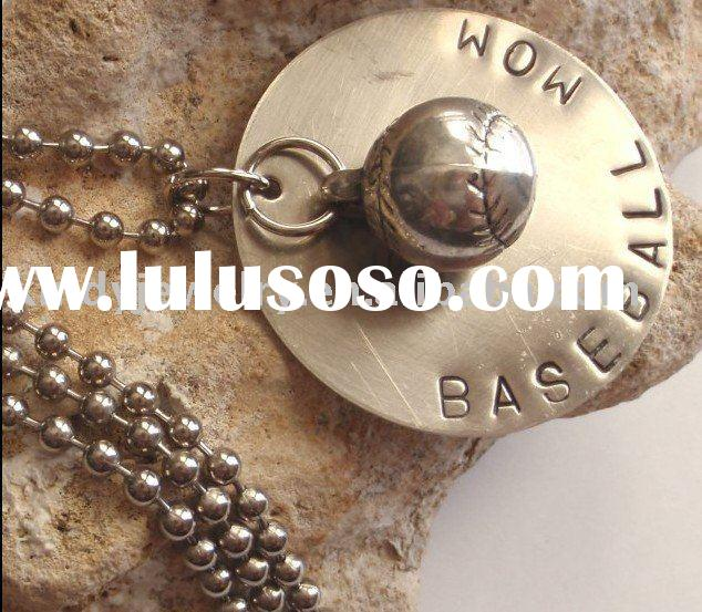 Antique Finish BASEBALL MOM Hand Stamped Metal Pendant Charm Ball Chain Necklace