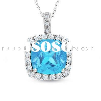 Cushion-Cut Blue Topaz and Lab-Created White Sapphire Pendant in 10K White Gold with Diamond Accents