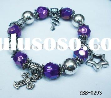Fashion Acrylic Bead With Metal Charms Bracelet