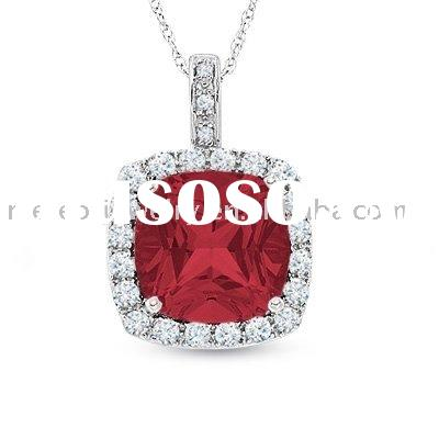 Lab-Created Cushion-Cut Ruby and White Sapphire Pendant in 10K White Gold