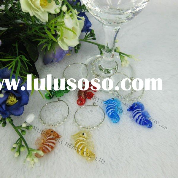 Lovely Sea Horse Design Murano Glass Wine Charms