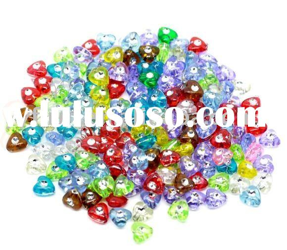 Mixed Foil Flower Charm Acrylic Small Hole Beads