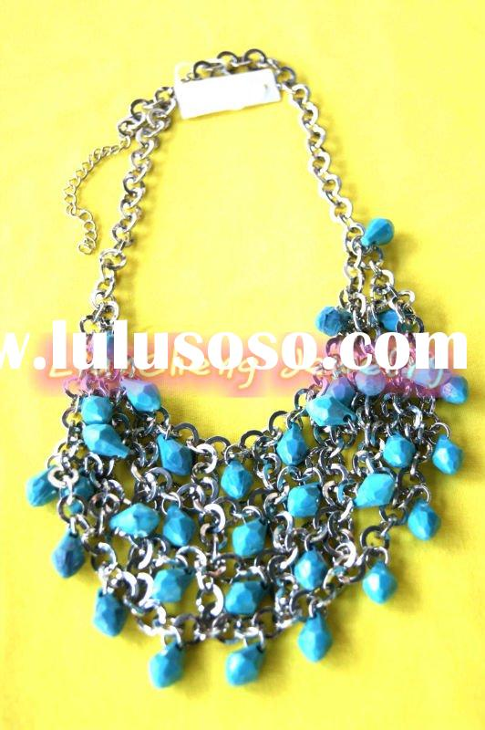 N-05015 Fashion Handmade blue Acrylic beads charm Necklace