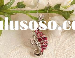 Pink Crystal seahorse animal Gift pendant necklace
