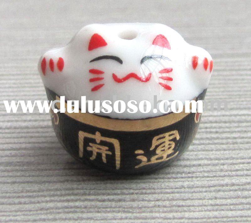 Wholesale Ceramic Lucky Cat Cell Phone Charm