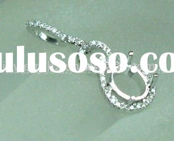 Wholesale customized design  14k Whie Gold  Oval Cut  Diamond  Pendant