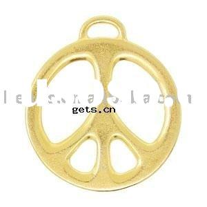 [FREE SHIPPING] silver pendant with 14Kt Gold Plated Peace Sign Charm