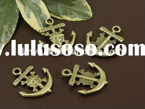 costume anitque Vintage Bronze Skeleton pirate ship anchors metal charm pendant