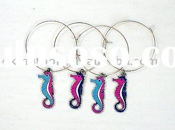sea horse wine charms