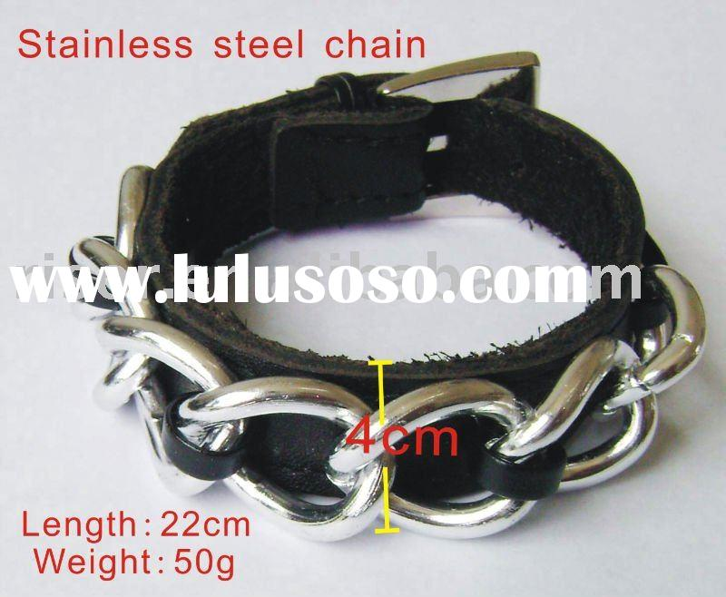 stylish black leather metal charm bracelet with buckle