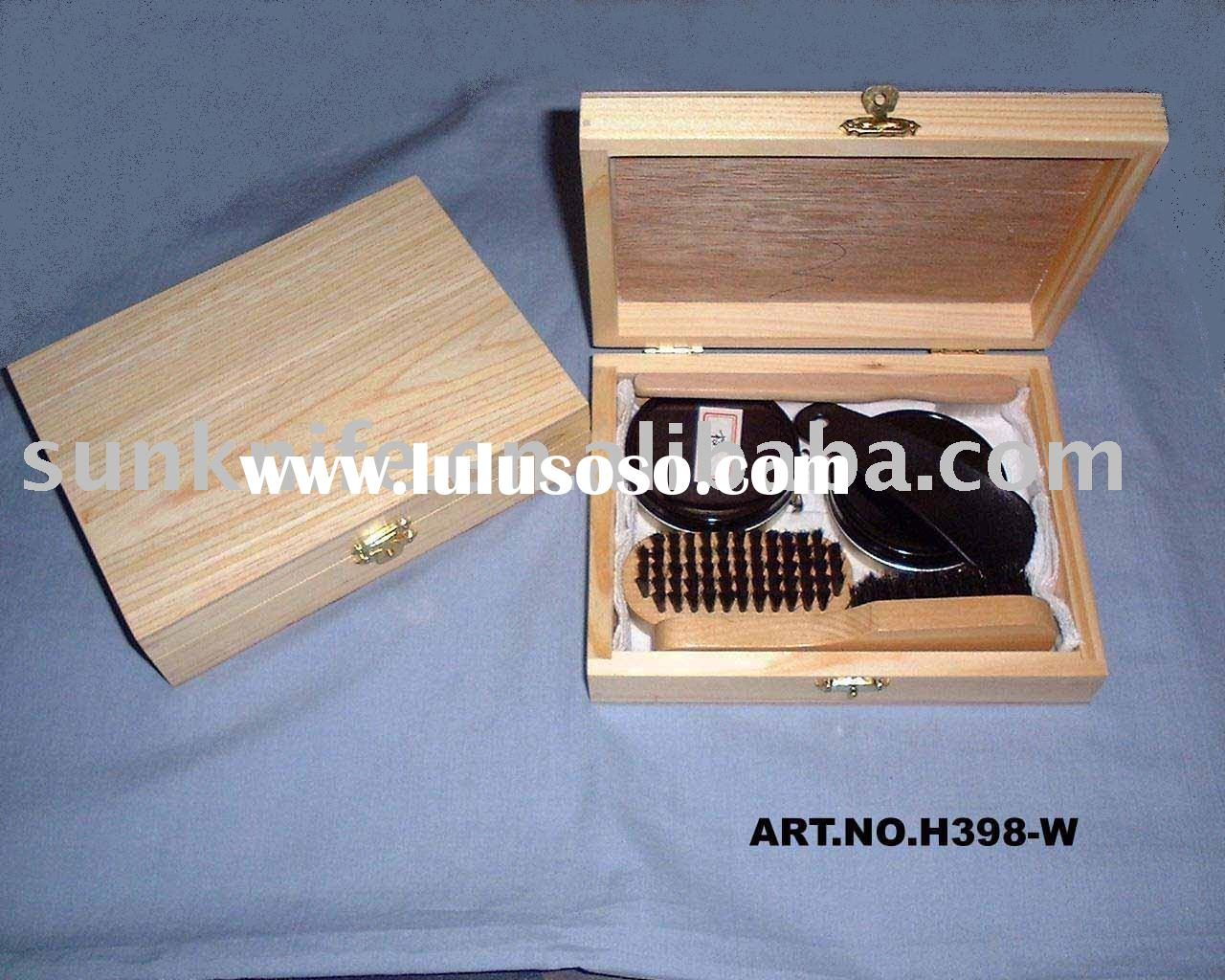 shoe polish kit with wooden case