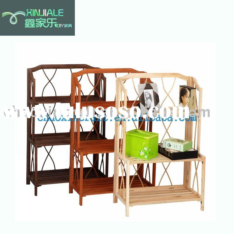 3-tier folding wooden book display stand